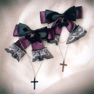 【♰十字架レースリボン】ダブル♰ヴァンパイア♰コウモリ【他カラー有】